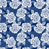 Beautiful buds. Watercolor roses pattern 10. Hand drawn floral pattern, monochrome Royalty Free Stock Photography
