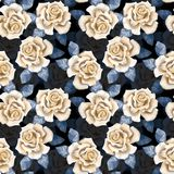 Beautiful buds. Watercolor roses pattern 5. Hand drawn watercolor seamless pattern Stock Photos