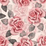 Beautiful buds. Watercolor roses pattern 7. Seamless background. Floral seamless background with roses Stock Images