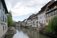 Beautiful building along the river in old town of Strasbourg stock photo