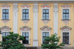 Beautiful building with arched windows and a bas-relief. Poland royalty free stock image