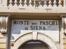 Beautiful building of the Bank of Siena in Pisa - PISA ITALY - SEPTEMBER 13, 2017 Royalty Free Stock Photography