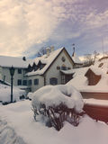 the beautiful building covered in snow in winter Royalty Free Stock Photography