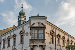Beautiful building facade with old clock tower in Budapest, Hungary Royalty Free Stock Images