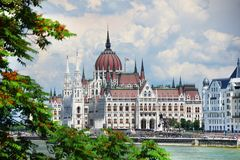The beautiful building of Hungarian Parliament Building of Budapest Stock Photo