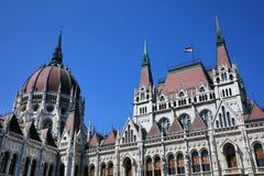 The beautiful building of Hungarian Parliament of Budapest Royalty Free Stock Image