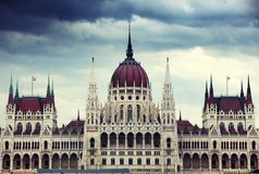 The beautiful building of Hungarian Parliament of Budapest Stock Image