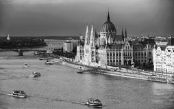 The beautiful building of Hungarian Parliament of Budapest seen from Gellert Hill. Known as the Parliament of Budapest is a notable landmark of Hungary and a stock images