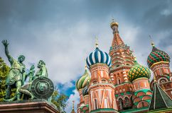 St. Basil`s Cathedral and monument at Red square in Moscow, Russia. stock photos