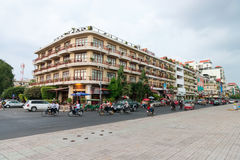 Beautiful building in Phnom Penh housing multiple hotels and oth Stock Photography