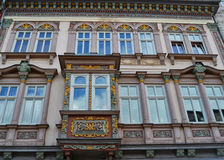 A Beautiful Building with Window Box. A lovely ornamental window box in Muehlhausen, Germany Royalty Free Stock Photos