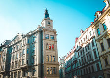Beautiful buildings on European street. Architecture of european city Prague in Czeh Republic Stock Images
