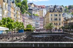 Beautiful buildings of Karlovy Vary, Czech Republic Royalty Free Stock Images