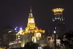 Beautiful buildings at night stock images
