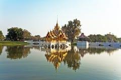 Beautiful buildings and park. Bang Pa-In Aisawan Thipya-Art (Divine Seat of Personal Freedom) at the Royal Summer Palace near Bangkok, Thailand Royalty Free Stock Photos