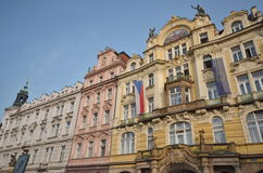 Beautiful buildings in Prague, the old town square. Prague, old town square, beautiful buildings with pastel colours, touristic attraction for people from all Royalty Free Stock Images