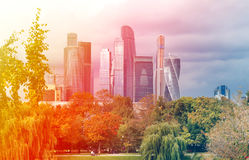Beautiful buildings skyscraper. In Moscow photographed close up Royalty Free Stock Photos
