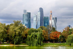Beautiful buildings skyscraper. In Moscow photographed close up Stock Image