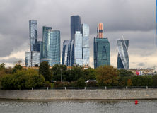 Beautiful buildings skyscraper. In Moscow photographed close up Stock Images