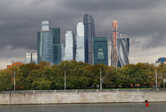 Beautiful buildings skyscraper. In Moscow photographed close up Stock Photography