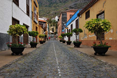 Beautiful buildings in a street in Puerto de la Cruz in Tenerife Canary Islands, Spain, Europe. Beautiful colorful buildings in a street in the old town of Stock Photography