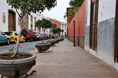 Beautiful buildings in a street in Puerto de la Cruz in Tenerife Canary Islands, Spain, Europe. Beautiful colorful buildings in a street in the old town of stock images