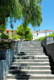 Beautiful buildings in a street in Puerto de la Cruz in Tenerife Canary Islands, Spain, Europe. Beautiful colorful buildings in a street in the old town of royalty free stock photo