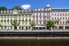 Beautiful buildings of Karlovy Vary, Czech Republic Stock Images