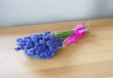 Beautiful Bunch of Lavender Tied with Pink Ribbon. A bundle of lavender on the table wrapped with ribbon to be dried Royalty Free Stock Images