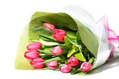 Beautiful bunch of pink tulips. Beautiful pink tulips wrapped as a gift Royalty Free Stock Photo