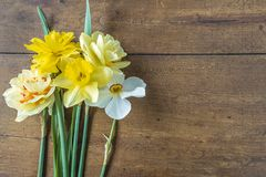 Easter or spring concept with yellow jonquil flowers. Beautiful bunch of yellow jonquil flowers on vintage wooden background with copy space royalty free stock photography