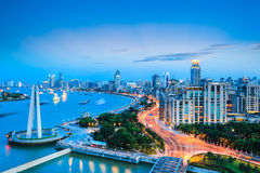 Beautiful the bund in shanghai at dusk. Beautiful the bund and huangpu river in shanghai at dusk, China Stock Images