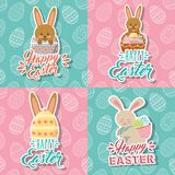 Beautiful bunnies and eggs basket happy easter collection. Vector illustration stock illustration