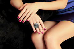 Beautiful Burgundy manicure . Royalty Free Stock Photography