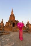 Beautiful burmese dressed lady at Bagan. Stock Image