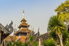 Beautiful Burmese style Buddhist church in Wat Chedi Luang, Chiang Mai, Thailand. Many of the regions temples are built in Lanna,. Thai, and Burmese style royalty free stock photo