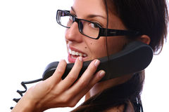 Beautiful busines woman with telephone Royalty Free Stock Photo