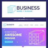 Beautiful Business Concept Brand Name Abstract, aggregation, cub. E, dimensional, matrix Logo Design and Pink and Blue background Website Header Design template stock illustration