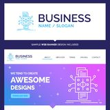 Beautiful Business Concept Brand Name Analysis, data, datum, pro. Cessing, reporting Logo Design and Pink and Blue background Website Header Design template stock illustration