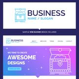 Beautiful Business Concept Brand Name Box, chest, gold, reward. Treasure Logo Design and Pink and Blue background Website Header Design template. Place for stock illustration