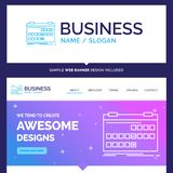 Beautiful Business Concept Brand Name Calendar, date, event, rel. Ease, schedule Logo Design and Pink and Blue background Website Header Design template. Place stock illustration