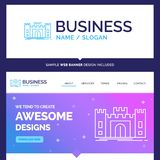 Beautiful Business Concept Brand Name Castle, defense, fort, for stock illustration