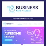 Beautiful Business Concept Brand Name FAQ, Assistance, call, con stock illustration