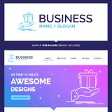 Beautiful Business Concept Brand Name gift, surprise, solution. Idea, birthday Logo Design and Pink and Blue background Website Header Design template. Place vector illustration