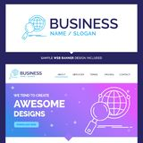 Beautiful Business Concept Brand Name global, globe, magnifier stock illustration