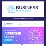 Beautiful Business Concept Brand Name globe, network, arrow, new. S, worldwide Logo Design and Pink and Blue background Website Header Design template. Place for vector illustration
