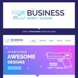 Beautiful Business Concept Brand Name gun, handgun, pistol, shoo. Ter, weapon Logo Design and Pink and Blue background Website Header Design template. Place for vector illustration