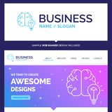 Beautiful Business Concept Brand Name idea, business, brain, min. D, bulb Logo Design and Pink and Blue background Website Header Design template. Place for vector illustration