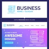 Beautiful Business Concept Brand Name server, storage, rack, dat. Abase, data Logo Design and Pink and Blue background Website Header Design template. Place for stock illustration
