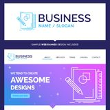Beautiful Business Concept Brand Name sketch, sketching, design. Draw, geometry Logo Design and Pink and Blue background Website Header Design template. Place vector illustration